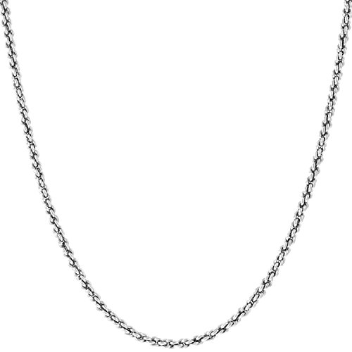 Lifetime Jewelry 1mm Rope Chain Necklace 24k Real Gold Plated for Women and Men (White Gold, 20)