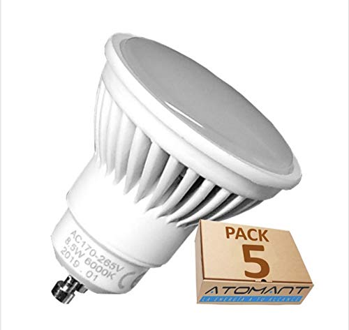 Lot 5x GU10 8.5w. Couleur Blanc Froid (6500K). 970 Lumens Certifies. Haute Luminosite.