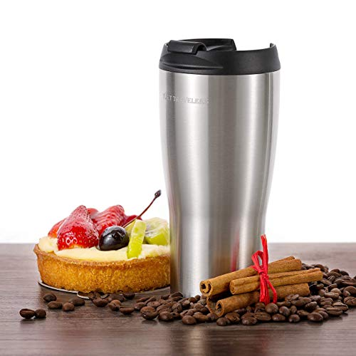 Y.S.T TRAVELERS Premium Tumbler: Double Wall Vacuum Insulated Travel Mug, Hot and Iced Coffee Thermal Cup, Leak-Proof Locking Lid with Stainless Steel Straw and Cleaning Brush Included
