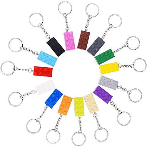 INTVN Schlüsselanhänger,Brick keyrings (4x2) - Kids Birthday Party Bag Füllstoffe, Gefälligkeiten, Beute, Lieferungen ,15 Schlüsselringer,Mehrfarbig (Multicolour)