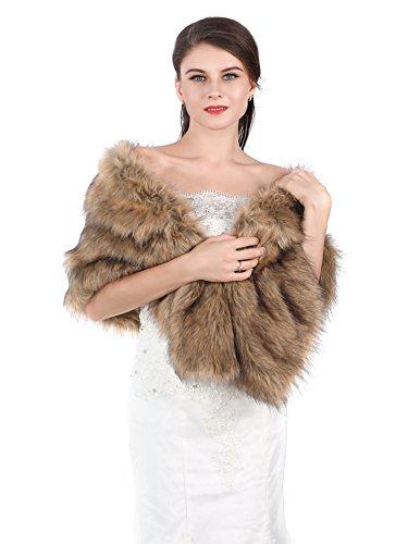 Handcess Handcess Frauen 1920 Braut Hochzeit Kunstpelz Schal Wrap Schwarz Braut Pelz Schal Stola Fur Wraps und Tücher für Frauen (Braun)