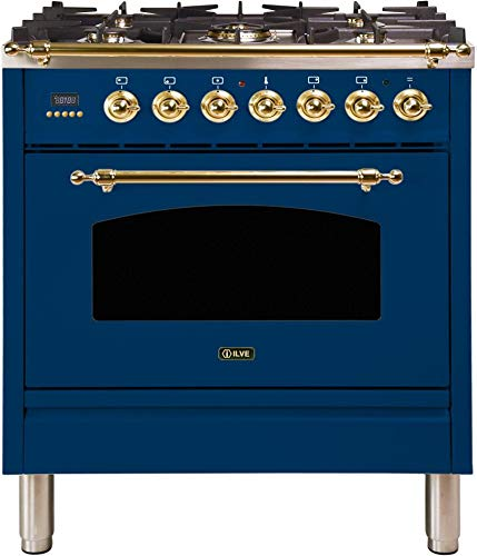 Ilve UPN76DMPBL Nostalgie Series 30 Inch Dual Fuel Convection Freestanding Range, 5 Sealed Brass Burners, 3 cu.ft. Total Oven Capacity in Blue, Brass Trim (Natural Gas)