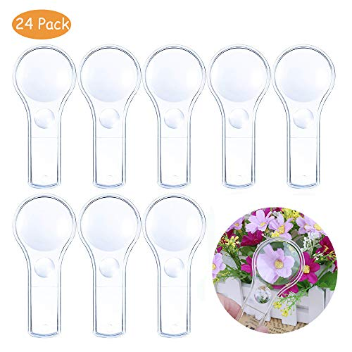 Plastic Magnifier, Mini Magnifying Glass 5X and 15X Handheld Reading for Kids Home, Classroom, Outdoor Science Observation Hand Lens IRCHLYN 24 Pack