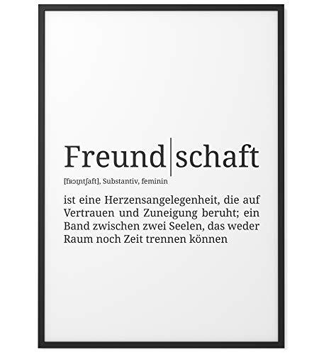 Papierschmiede® Definition: Freundschaft | DIN A4 | Poster mit Worterklärungen wie im Duden als Wanddeko | Kunstdruck für den Bilderrahmen - ohne Rahmen