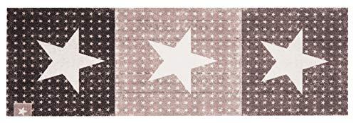 Zala Living Waschbarer Küchenläufer Küchenteppich Teppichläufer Star Boulevard (45x140 cm, 100% Polyamid, rutschfest, Fußbodenheizung geeignet), Braun