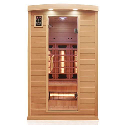 Dewello Infrarotkabine HYDER 115x105 für 1-2 Personen aus Hemlock Holz mit Vollspektrumstrahler