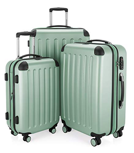 Hauptstadtkoffer - Spree - Set of 3 Hard-Side Luggages Glossy Suitcase Hardside Spinner Trolley Expandable (55, 65 & 75 cm) TSA, Mint