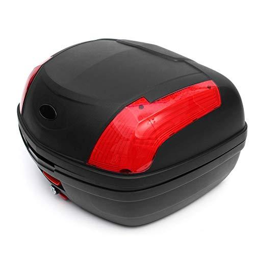 52L Secure Latch Black Motorcycle Tronco con Bloqueo Scooter Caja Superior Durable Almacenamiento Trasero Equipaje Topbox Caso 55x42x32cm (Color : Multi-Colored)