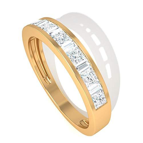 Anillo de boda de diamante certificado IGI de 0,80 CT, anillo de boda, aniversario de novia, apilable promesa, regalo para el día de la madre, 14K Oro amarillo, Size:EU 61