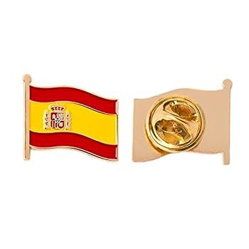 Spain Country Enamel Made of Metal Souvenir Hat Men Women Patriotic Spanish  Waving Flag Lapel Pin
