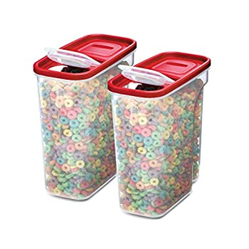 Rubbermaid Premium Modular Food Lids Cereal Keeper 2-Pack 18-Cup Stacking Space Saving Plastic Storage Containers Clear