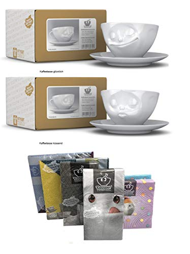FIFTYEIGHT PRODUCTS Kaffeetassen 2er Set + Servietten, 200 ml, KÜSSEND+GLÜCKLICH