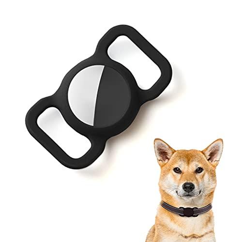 Kuaguozhe Silikon Schutz Hülle Kompatibel mit Apple Airtag GPS Finder Hundehalsband, Pet Loop Holder für Apple Air_Tags, Slide On Sleeve Kompatibel mit Apple Airtags-Schwarz