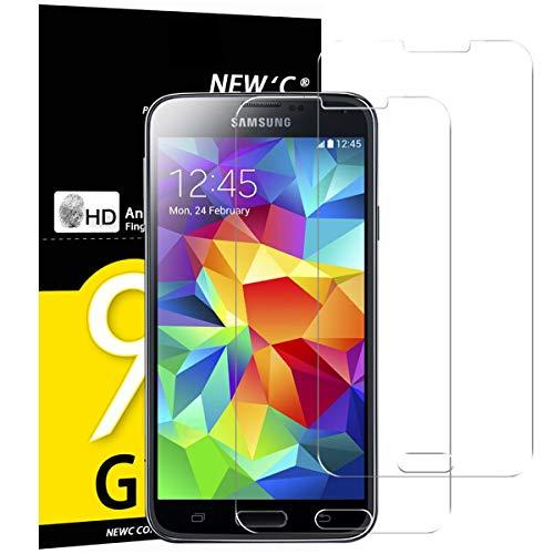 NEW'C PanzerglasFolie Schutzfolie für Samsung Galaxy S5 Mini, [2 Stück] Frei von Kratzern Fingabdrücken und Öl, 9H Härte, HD Displayschutzfolie, Displayschutzfolie Samsung Galaxy S5 Mini