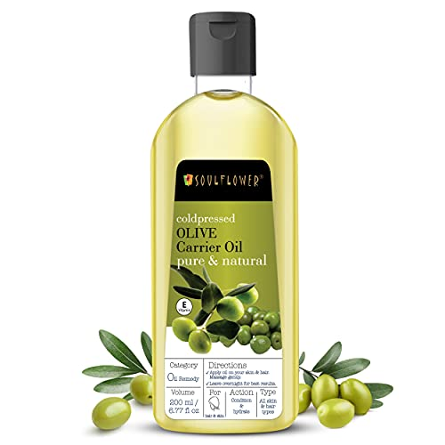 Soulflower Olive Oil, Pure And Natural Undiluted, Organic & Cold Pressed, For All Hair And Skin Types, Deep Conditioning, Strengthen And Replenish Elasticity, 6.77 Fl.Oz, Vegan