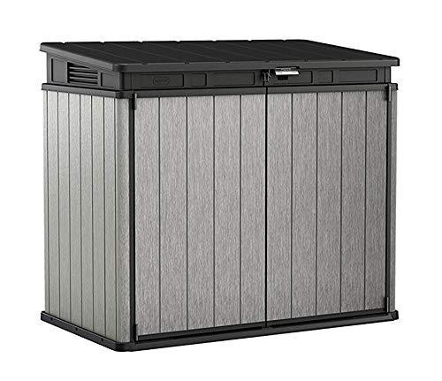 Koll Living Garden Aufbewahrungsbox XXL, grau - ideal zur Aufbewahrung von Gartenmöbeln, Rasenmähern, Grillgeräten usw.- kann 2 Abfalltonnen bis zu Einer Größe von 240 L aufnehmen