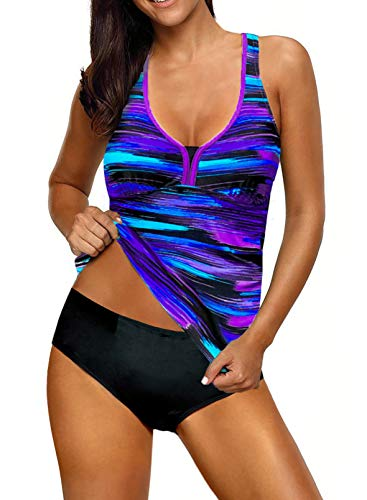 Elegancity Women U Neck Color Block Striped Printed Racerback Tankini Top with Shorts Two Pieces Swimsuit 20-22