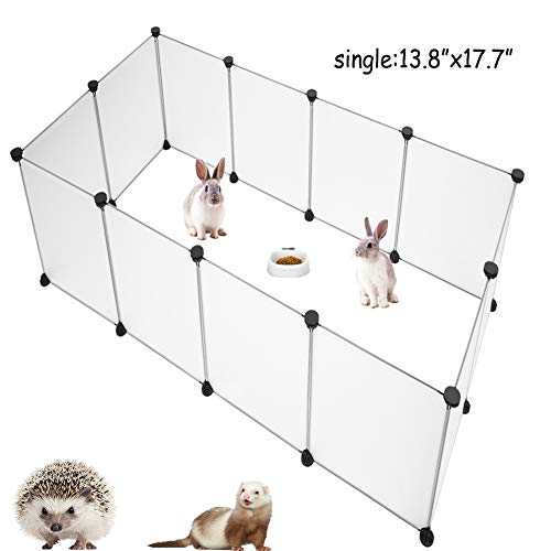 PINVNBY Pet Playpen Portable Resin Pet Yard Fence Puppy Crate Kennel for Dog Cat Kitten Rabbit Ferret Guinea Pig Bunny Hedgehogs, Outdoor & Indoor,12 Panels,13.8 x 17.7 inches
