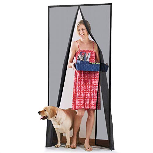 "Homitt [Upgraded Version] Magnetic Screen Door with Durable Fiberglass Mesh Curtain and Full Frame Hook & Loop Fits Door Size up to 39""x83"" Max- Black"