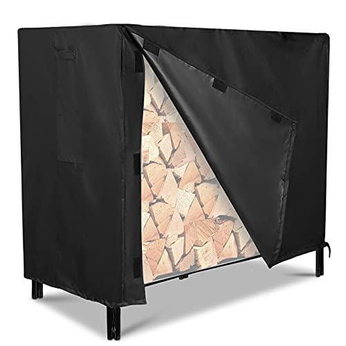 Firewood Rack Cover, NASUM outdoor log rack cover 4 feet 600D waterproof,48(L)x24(W)x42(H) inches, black