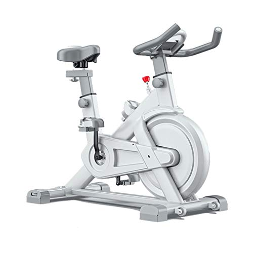 Cyclette da Interno Fissa Bicicletta da Spinning per Interni A Cinghia Adatta per L'allenamento Aerobico con Cyclette in Ufficio A Casa (Color : Bianca, Size : 112 * 55 * 88cm)