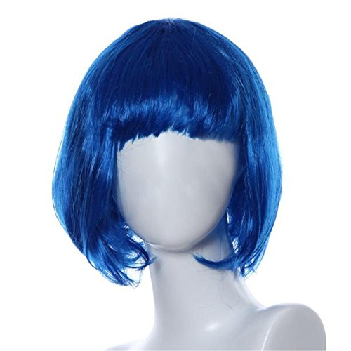 Wig Vovotrade® Mascarade petit rouleau Bang courte perruque de cheveux raides (blue)