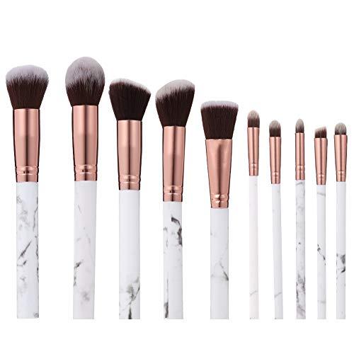 upain Make Up Pinsel Set Marmor Professionell Make up Foundation Eyeshadow Augenbrauenpinsel für Mädchen Damen 10 Stück