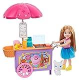 Barbie Chelsea Playset con su Gatito y Carrito de Helados, Muñeca con Accesorio y Mascota (Mattel GHV76)