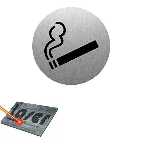 'Piano Cottura incisa autoadesiva 8cm 'Zona fumatori fondo in alluminio spazzolato