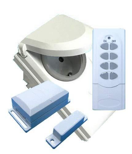 3-teiliges Funk-Abluftsteuerung Set mit Funk-Fensterkontaktschalter, Handsender (!) und Feuchtraum-Funksteckdose mit 3600W Schaltleistung DFM-DGR-HS