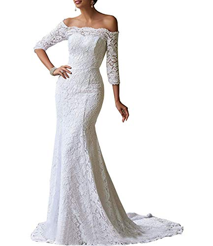 iluckin Full Lace Mermaid Off Shoulder Wedding Dresses with Train 3/4 Sleeves for Bride Bridal Ball Gown Long White
