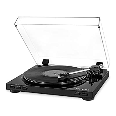 Victrola Pro VPRO-3100-BLK-EU Semi-Automatic Record Player with 2-Speed Turntable, Vinyl to MP3 USB Recording, Black, 13.98 in*14.57 in*3.54 in