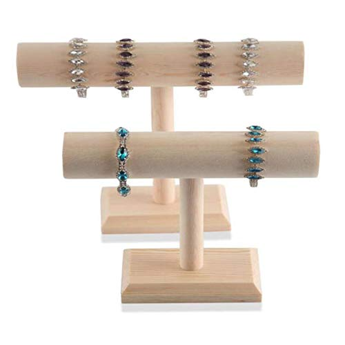Titular de collar Pulsera de la pantalla de la joyería de la barra de madera del soporte de la pantalla del brazalete, el soporte de la joyería, el conjunto de 2 piezas, 2 tamaños Organizador de joyas