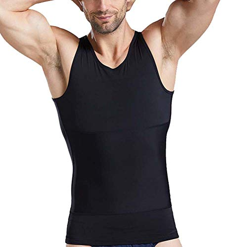 Compresión Adelgazar Camisetas sin Mangas para Ocultar ginecomastia Moobs Corsé Pecho Aplanar el Abdomen Fajas,Black,XL
