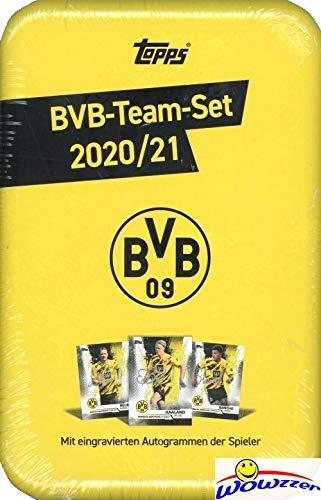 2020/21 Topps Borussia Dortmund BVB Soccer EXCLUSIVE Factory Sealed MEGA TIN Complete Team Set! Includes Erling Haaland, Giovanni Reyna, Jadon Sancho, Marco Reus, Jude Bellingham RC & More! WOWZZER!