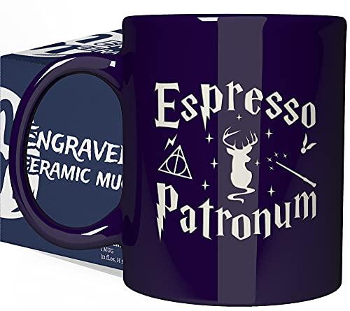 Engraved Ceramic Coffee Mug - Espresso Patronum - 11 fl.oz - Inspirational and sarcasm Mothers Fathers Day Gift Cup for Bonus Grand Mom Dad