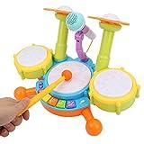 Batería para niños, Instrumentos musicales electrónicos para la educación temprana, Tambores de juguete que funcionan con pilas con luz de flash, Efectos de sonido, 2 baquetas y micrófono(Amarillo)