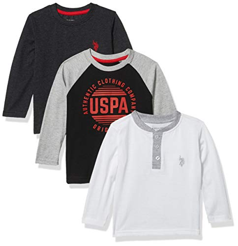 U.S. Polo Assn. Playera de Manga Larga para niño, Paquete de 3, Logotipo de Token Negro, 4