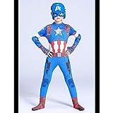 LGYCB Capitán América Ropa para Niños Leotardos, Traje Azul Bodysuit Bodies Apretado Set Juego De rol Animado Cosplay Traje De Baile Vestido De Prendas De Vestir, Niño,Blue-120cm