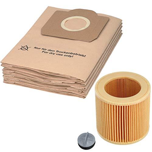 1 juego de 10 bolsas de aspiradora y 1 filtro de cartucho adecuado para aspiradoras multiusos Kärcher de las series WD3 y MV3.