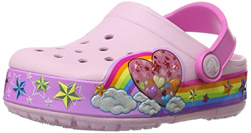 Crocs Crocs CrocsLights Rainbow Heart Clog Kids, Mädchen Clogs, Pink (Ballerina Pink), 28/29 EU