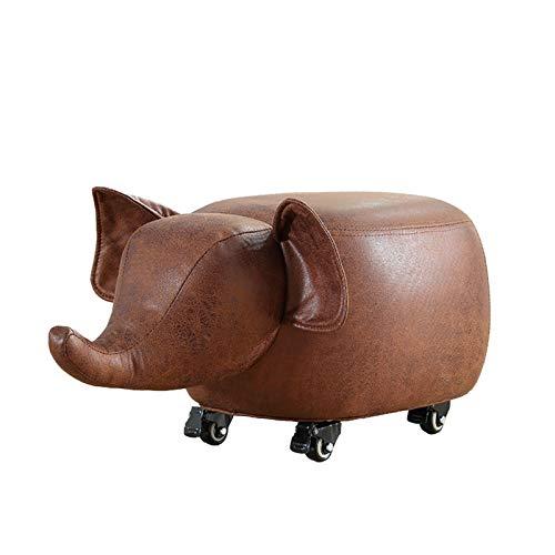 WXYNT Cuero Reposapiés Animal con Ruedas,Lindo Shape Ottoman Footstool Tapizado,Asiento De Sofá Acogedor para La Sala De Estar-A 62x32x30cm(24x13x12inch)