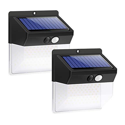 Solarlampen für Außen Garten Balkon Solarleuchten Solarlampe mit Bewegungsmelder 136 LED Superhell Solarleuchte Set, Wasserdicht, 3 Modi (2 Stücke)