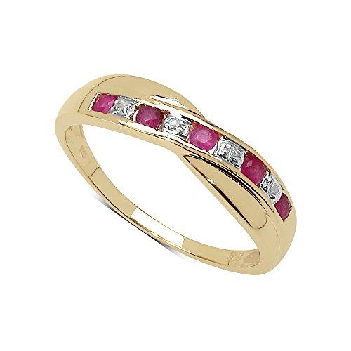 De Diamanten Ringcollectie 9Ct Gouden Ring met Robijn en Diamanten Kruis set Perfect Cadeau, Jubileum Of Inzet Eeuwigheid Ring, Ringgrootte 11, 12, 13, 15, 16, 10 17