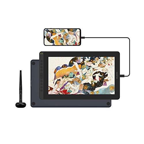 HUION Kamvas 16 2021 Tableta Gráfica con Pantalla, Monitor de Dibujo de 15,6 Pulgadas, Antideslumbrante Laminado Completo, Lápiz óptico con Función de Inclinación,10 Teclas de Acceso Directo, Azul
