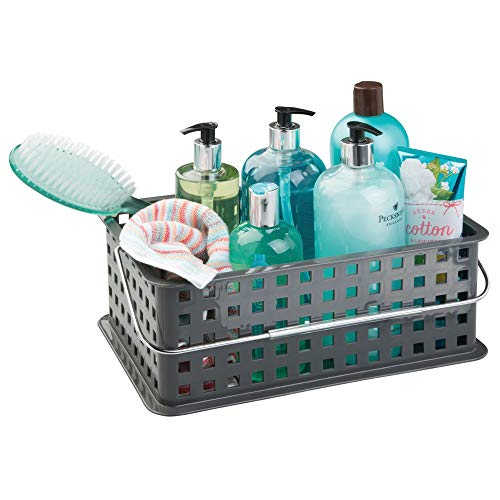 iDesign Plastic Storage Organizer Basket with Handle for Bathroom, Health, Cosmetics, Hair Supplies and Beauty Products, 8.69
