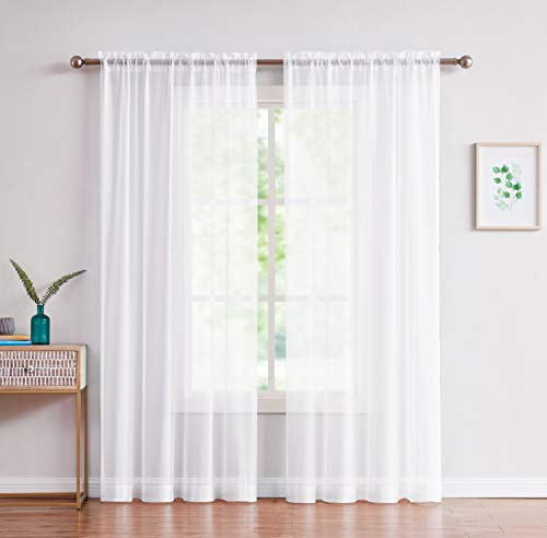 Amazing Sheer - 2-Piece Rod Pocket Sheer Panel Curtains Fabric Sheer - Voile Curtains for Window Treatment - Natural Light Flow (56' W x 84' L - Each Panel, White)