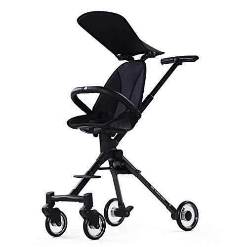 Cochecito de bebé deslizante para coche plegable pequeño y ligero de aluminio para bebé de dos vías (color: negro)