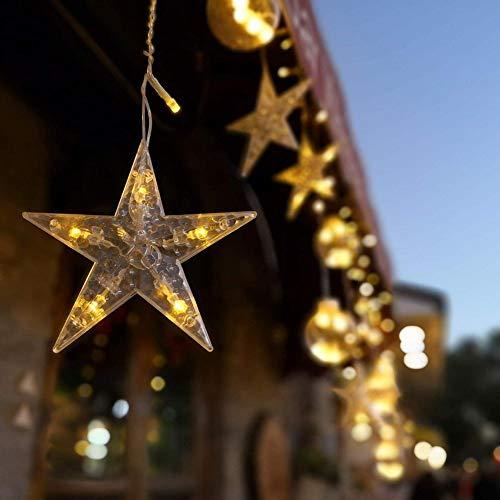 YIHEXUANkeji Cadena de luces con forma de estrella, luces de cadena de luces con control remoto, adecuado para el hogar, fiesta, Navidad, boda, decoración del jardín, blanco cálido