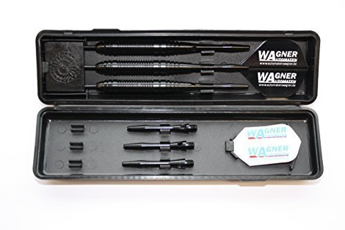 3 Dartpfeile mit Stahlspitzen, 3 Steeldarts WA Black Line in Box